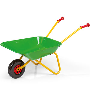 Small Rolly Toys children wheelbarrow in green, yellow and red.