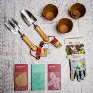 Content of gardening kit for children, Burgon & Ball tools, seeds, gloves and pots