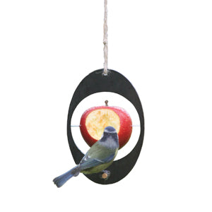 Bird eating from ashortwalk recycled plastic apple feeder