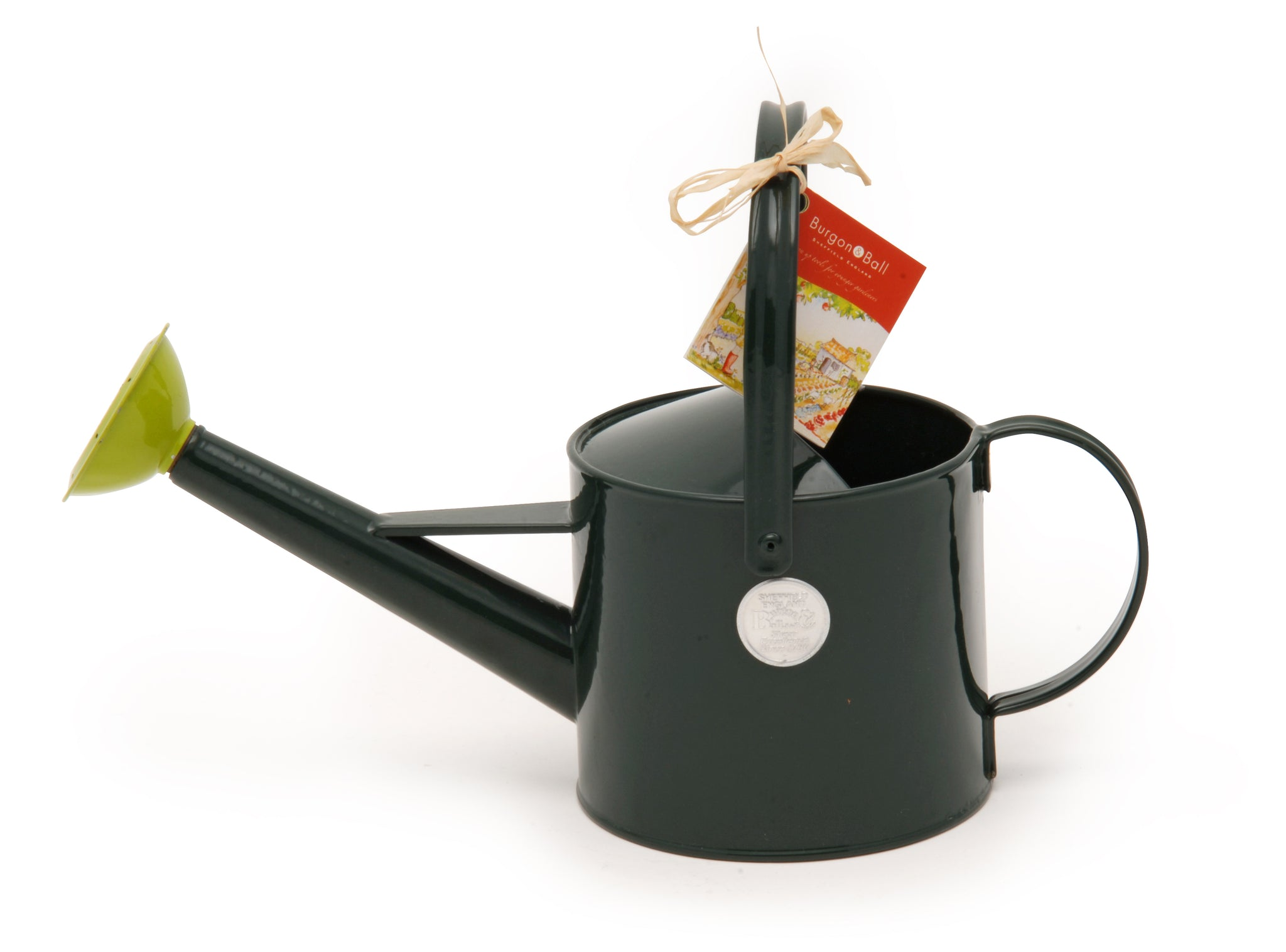 Burgon & Ball green metal watering can for children