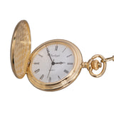 Full Hunter Pocket Watch with QGS Cap Badge, Chain - GP - Boxed - Quartz Battery