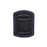 Drummers Badge - QOGLR - No2 - Black on blue