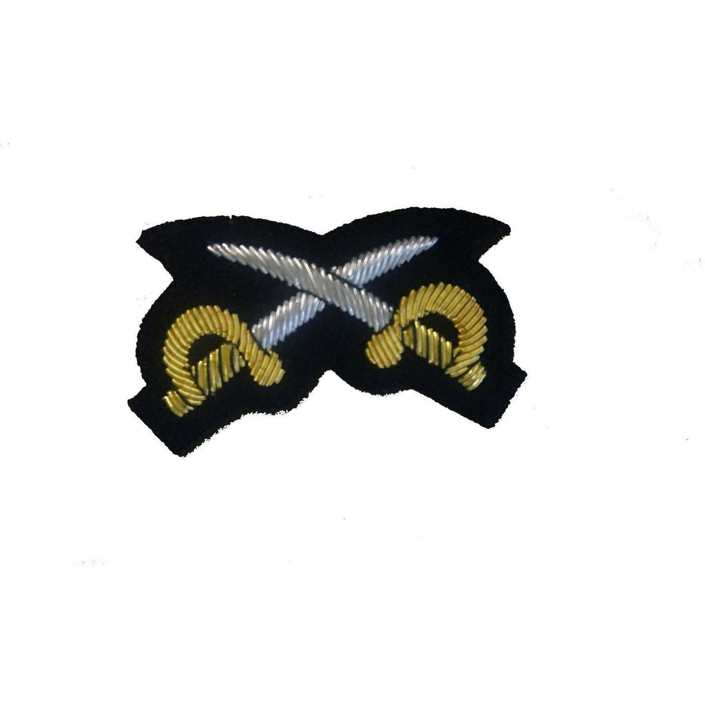 Mess Dress - Qualification Badge - PTI (X Swords) - B/W on Black Ground