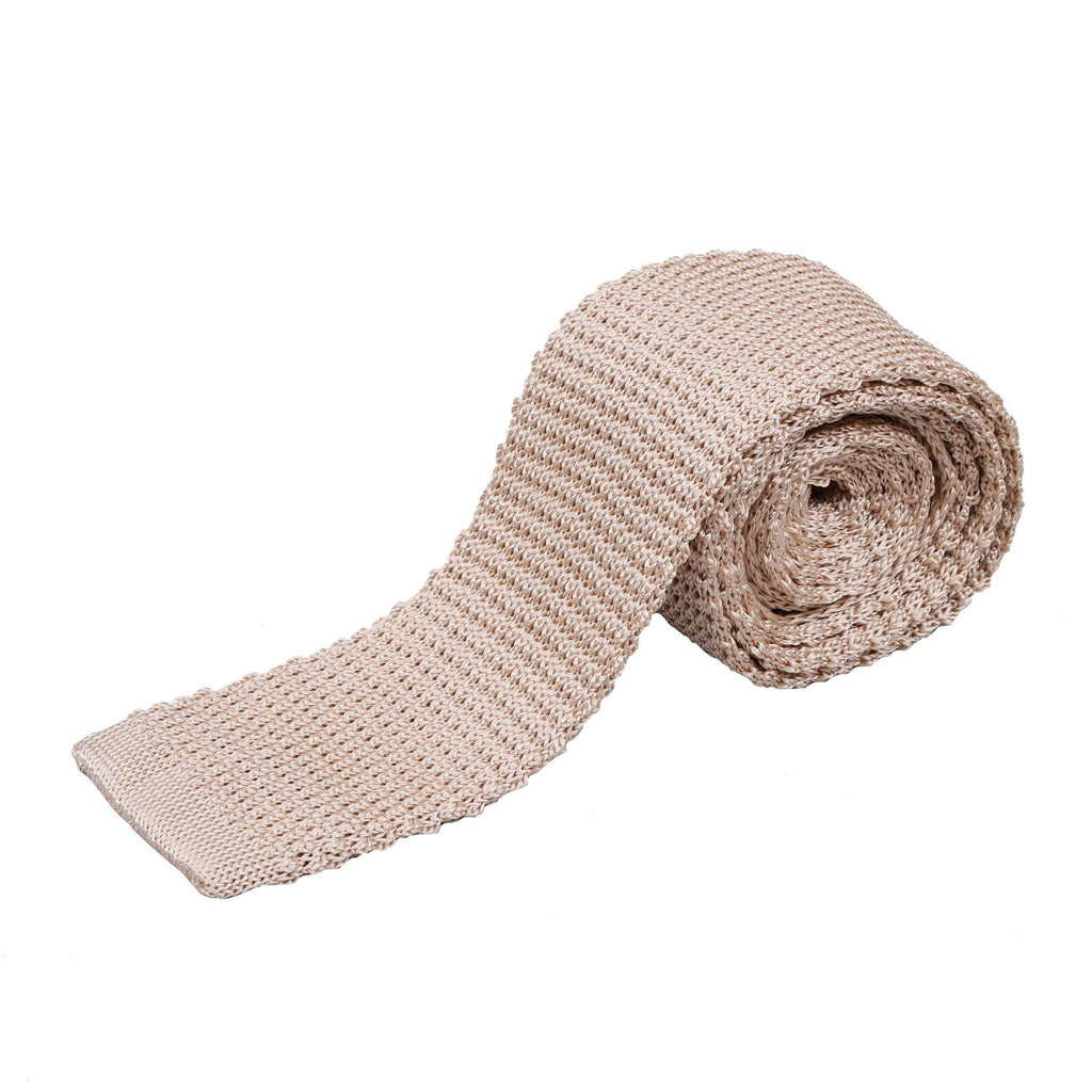 Officers Silk Knitted Tie - Light Beige