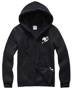 Fairy Tail Black Hoodie Jacket White Logo Cosplay Costume