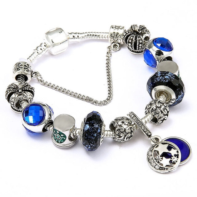 IVA Crystal Blue Magic Charm Bracelet