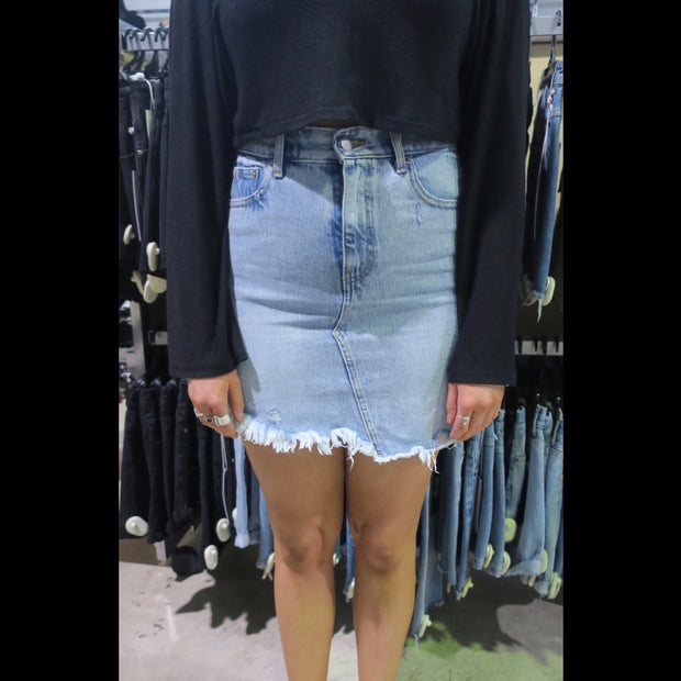 Sara Denim Skirt Destiny Light Blue Ripped 820