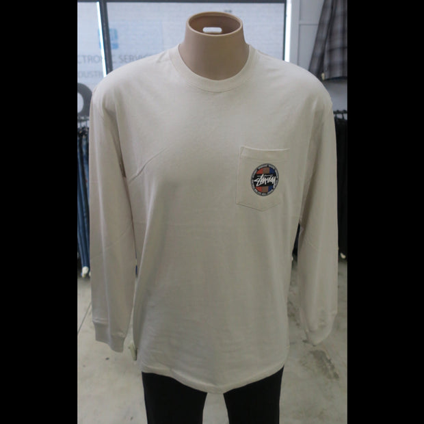 Surf Dot Pocket LS Tee in White Sand -1120