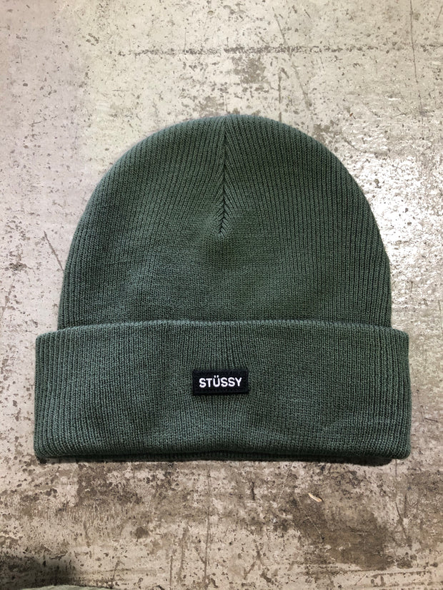 Logo Badge Cuff Beanie in Flight Green 820