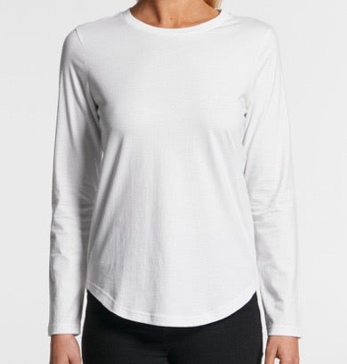 4055 Curve Long Sleeve Tee White