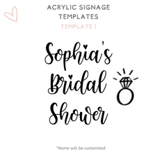 Load image into Gallery viewer, A1 A2 Acrylic Signage Wedding acrylic perspex signs font options templates