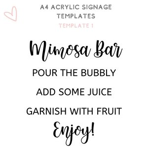 A4 acrylic signage Mimosa bar bubbly bar Bridal shower sign