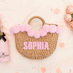 Personalized pom pom straw beach bag