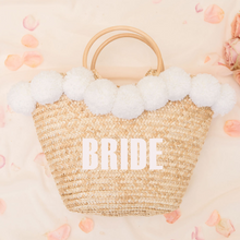 Load image into Gallery viewer, Personalized pom pom straw beach bag bride
