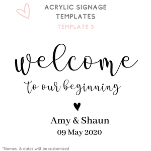 A1 A2 Acrylic Signage Wedding acrylic perspex signs font options templates