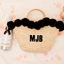 Load image into Gallery viewer, Personalized pom pom straw beach bag
