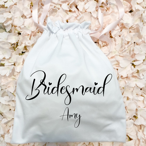 Custom text cotton drawstring bag pouch