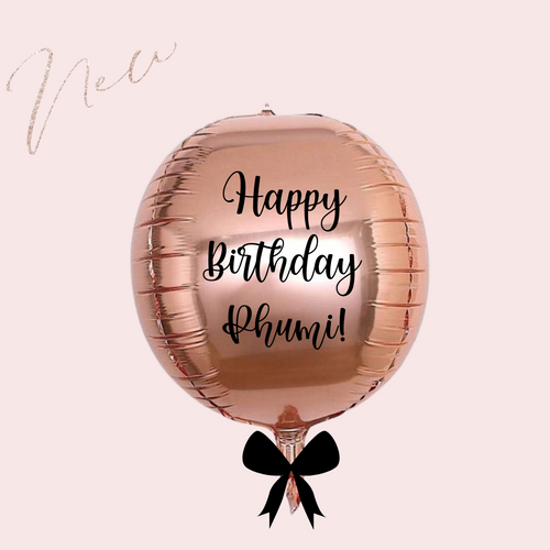 Personalized custom rose gold orb balloon