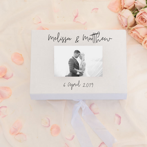 Groom custom wedding memory gift box with photo