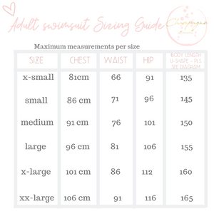 swimsuit sizing guide chart