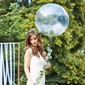 clear orb balloon with foliage tail