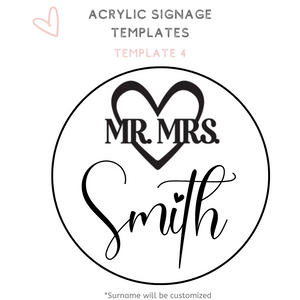 Circle acrylic sign wedding signage template