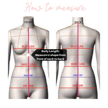 Load image into Gallery viewer, Bride Bridesmaid Custom Swimsuit elastic straps Sizing guide How to measure