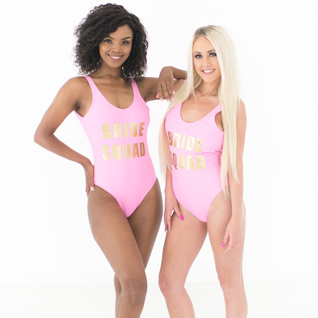 a1963ec66e7d1 Load image into Gallery viewer, Bride squad swimsuit pink and gold ...