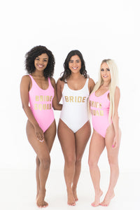 Bride and Bride Squad swimsuits