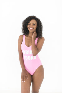 Bride squad swimsuit pink and white
