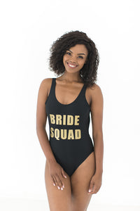 Bride squad swimsuit black and gold