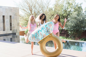 Bride squad swimsuit pink and gold