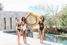 Load image into Gallery viewer, Bride squad swimsuit black and gold
