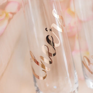Stemless customised champagne glasses