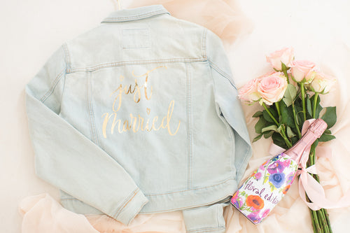 Customised denim jacket, Just Married bridal jacket