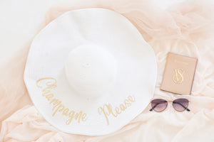 Champagne Please sun hat for honeymoon