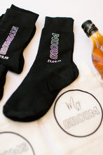 Load image into Gallery viewer, Groom Groomsmen Father of the Bride Groom gift personalised socks whiskey glass