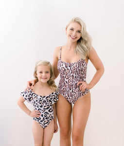 Leopard print matching mom and daughter baby swimsuits