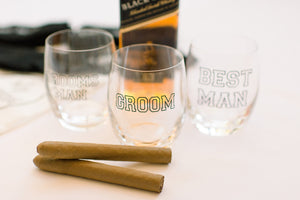 Groom groomsman gifts personalized whiskey glass