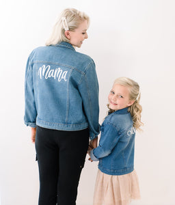 Mama and Daughter matching denim jackets