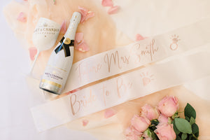 white bridal bride to be sash