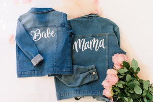 Mama and Babe matching denim jackets Iron on DIY jacket kits
