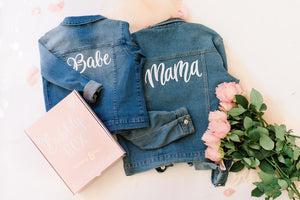 Mama and Me matching denim jackets Iron on DIY jacket kits