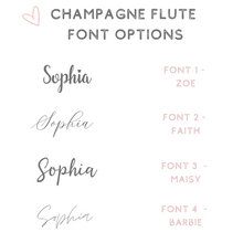 Load image into Gallery viewer, customised champagne glass font options