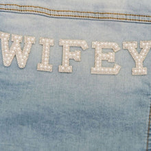 Load image into Gallery viewer, Wifey embellished diamante crystal denim jacket