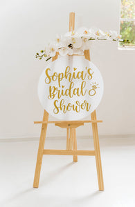 Circle acrylic sign wedding signage