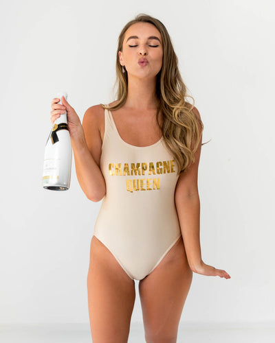 Champagne Gold custom  swimsuit Champagne Queen Bridal Swimwear