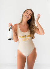 Load image into Gallery viewer, Champagne Gold custom  swimsuit Champagne Queen Bridal Swimwear
