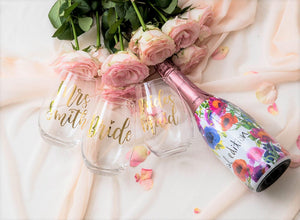 Stemless wine glass bride bridesmaid custom