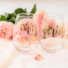 Load image into Gallery viewer, Stemless wine glass bride bridesmaid custom